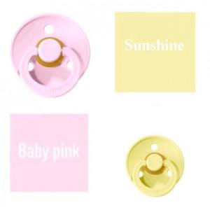 Bibs Baby Baby Pink/Sunshine Lutt 100% naturaalsest kautšukist – kirsi kujuga 0-6 kuud (2 tk)