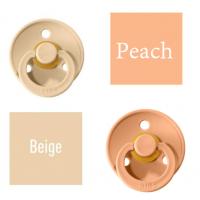Bibs Beige/Peach Lutt 100% naturaalsest kautšukist – kirsi kujuga 0-6 kuud (2 tk)