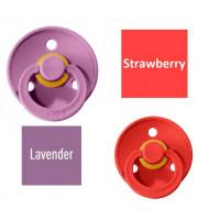 Bibs Strawberry/Lavender Lutt 100% naturaalsest kautšukist – kirsi kujuga 0-6 kuud (2 tk)