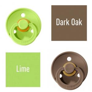 Bibs Lime/Dark Oak Lutt 100% naturaalsest kautšukist – kirsi kujuga 0-6 kuud (2 tk)