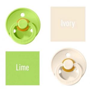 Bibs Lime/Ivory Lutt 100% naturaalsest kautšukist – kirsi kujuga 0-6 kuud (2 tk)