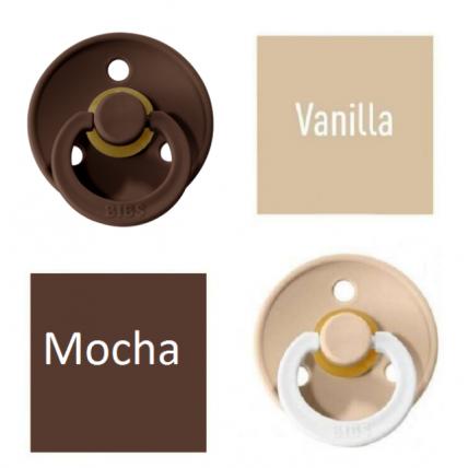 Bibs Vanilla/Mocha Lutt 100% naturaalsest kautšukist – kirsi kujuga 6-18 kuud (2 tk)