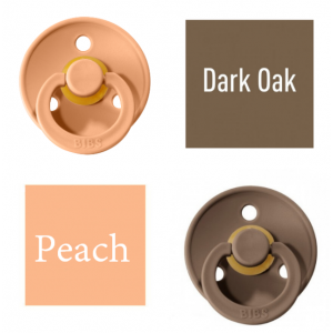 Bibs Dark Oak/Peach Lutt 100% naturaalsest kautšukist – kirsi kujuga 0-6 kuud (2 tk)