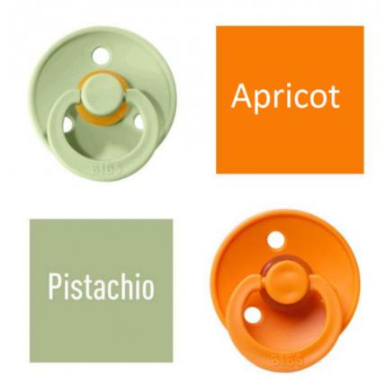 Bibs Pistachio/Apricot Lutt 100% naturaalsest kautšukist – kirsi kujuga 6-18 kuud (2 tk)