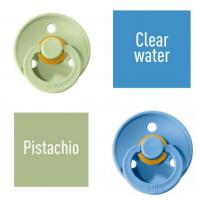 Bibs Pistachio/Clear water Lutt 100% naturaalsest kautšukist – kirsi kujuga 6-18 kuud (2 tk)