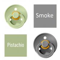 Bibs Pistachio/Smoke Lutt 100% naturaalsest kautšukist – kirsi kujuga 6-18 kuud (2 tk)