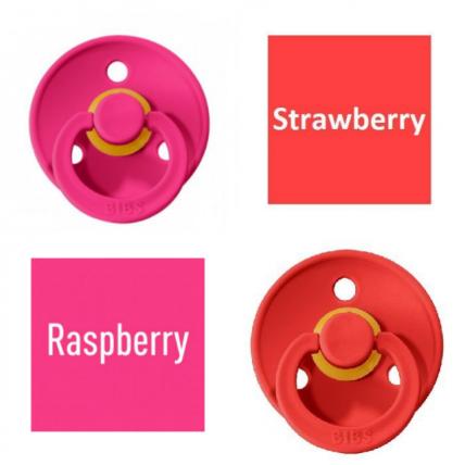Bibs Raspberry/Strawberry Lutt 100% naturaalsest kautšukist – kirsi kujuga 0-6 kuud (2 tk)