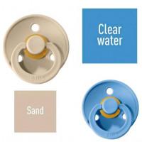 Bibs Sand/Clear water Lutt 100% naturaalsest kautšukist – kirsi kujuga 6-18 kuud (2 tk)
