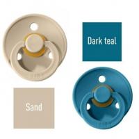 Bibs Sand/Dark teal Lutt 100% naturaalsest kautšukist – kirsi kujuga 6-18 kuud (2 tk)