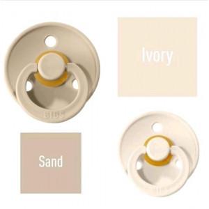 Bibs Ivory/Sand Lutt 100% naturaalsest kautšukist – kirsi kujuga 0-6 kuud (2 tk)