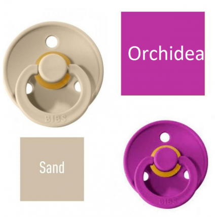 Bibs Sand/Orchidea Lutt 100% naturaalsest kautšukist – kirsi kujuga 6-18 kuud (2 tk)