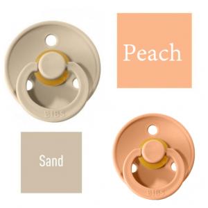 Bibs Sand/Peach Lutt 100% naturaalsest kautšukist – kirsi kujuga 0-6 kuud (2 tk)