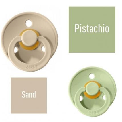Bibs Pistachio/Sand Lutt 100% naturaalsest kautšukist – kirsi kujuga 6-18 kuud (2 tk)