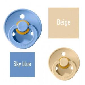 Bibs Sky Blue/Beige Lutt 100% naturaalsest kautšukist – kirsi kujuga 0-6 kuud (2 tk)