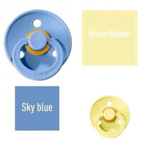 Bibs Sky blue/Sunshine Lutt 100% naturaalsest kautšukist – kirsi kujuga 0-6 kuud (2 tk)