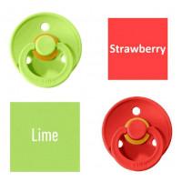 Bibs Lime/Strawberry Lutt 100% naturaalsest kautšukist – kirsi kujuga 6-18 kuud (2 tk)