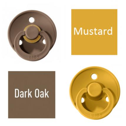 Bibs Dark Oak/Mustard Lutt 100% naturaalsest kautšukist – kirsi kujuga 6-18 kuud (2 tk)