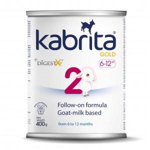 Kabrita Gold 2 kunstlik kitsepiima baasil valmistatud, kergesti seeduv kuiv jätkupiimasegu lastele vanuses 6 kuni 12 kuud 400g